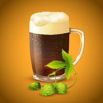 Donkere bier en hopachtergrond