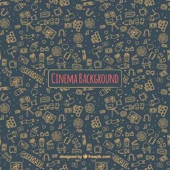Donkere bioscoop achtergrond met de hand getekende elementen