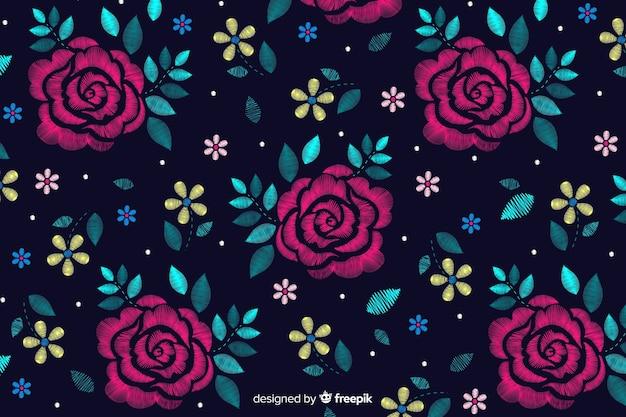 Donkere bloemen decoratieve borduurwerkachtergrond