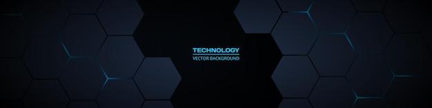 Donkere brede zeshoekige abstracte technologiebanner