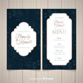 Donkere bruiloft menusjabloon
