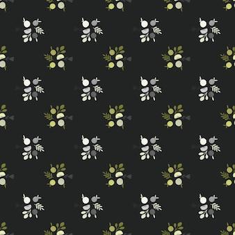 Donkere cartoon voedsel naadloze patroon met appels en bladeren silhouetten