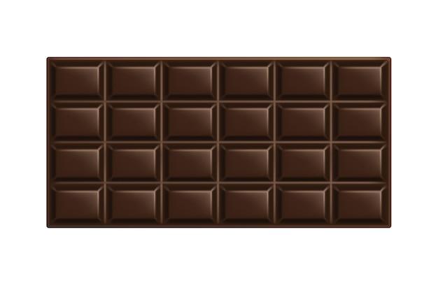 Donkere chocoladereep. onverpakt vierkant stuk zwarte bittere chocolade.