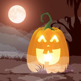 Donkere de nachtscène van halloween met pompoen