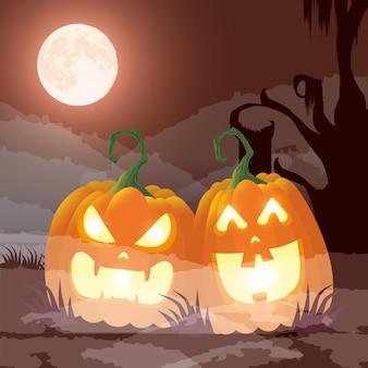 Donkere de nachtscène van halloween met pompoenen