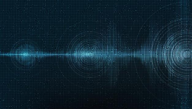 Donkere digitale geluidsgolf op blauwe achtergrond, technologie en aardbevingsgolf diagram concept