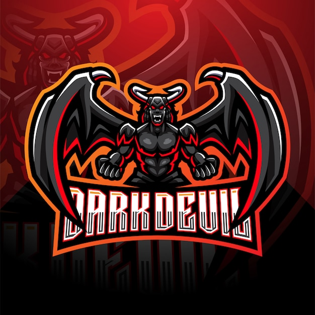 Donkere duivel esport mascotte logo sjabloon
