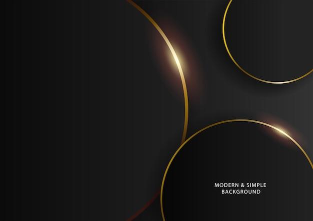 Donkere en gouden lijnachtergrond, moderne eenvoudige luxueuze vectorachtergrond