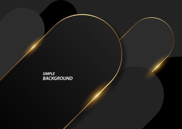 Donkere en gouden lijnachtergrond, moderne stijlvolle vectorachtergrond