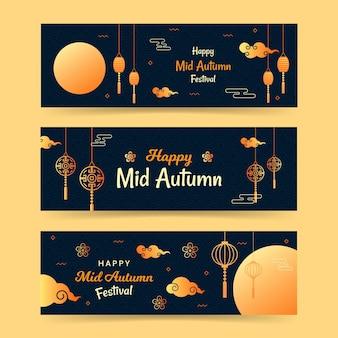 Donkere en gouden mid-herfst banner set