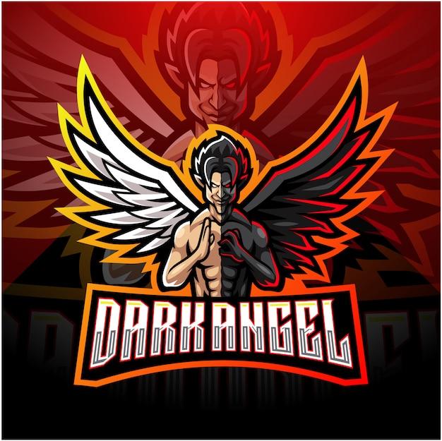 Donkere engel esport mascotte logo ontwerp