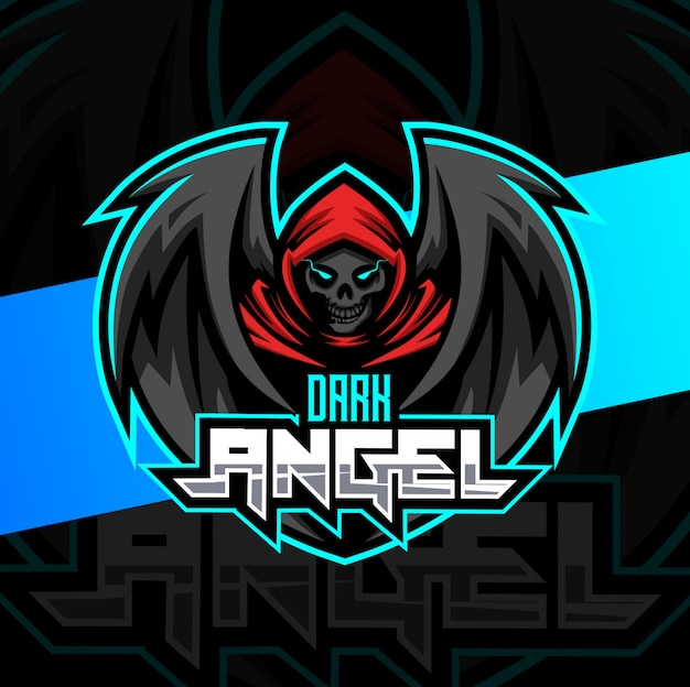 Donkere engel schedel mascotte esport logo