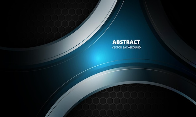 Donkere futuristische abstracte blauwe en grijze achtergrond met zeshoekige koolstofvezel.