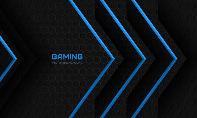 Donkere gaming-achtergrond met blauwe pijlen op een donker abstract zeshoekig raster