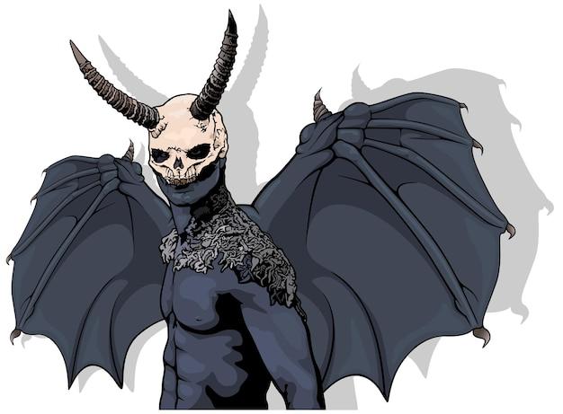 Donkere gehoornde demon met vleugels als gekleurde enge halloween-illustratie
