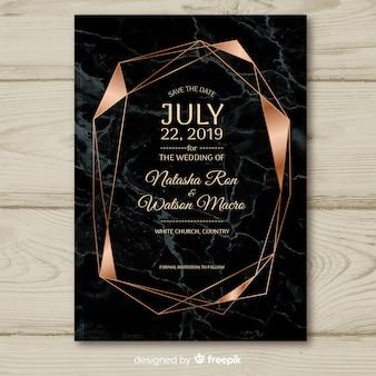 Donkere geometrische bruiloft uitnodiging sjabloon