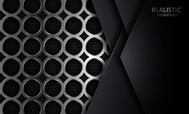 Donkere geometrische overlaplaagachtergrond op realistisch zilveren cirkelmetaalontwerp