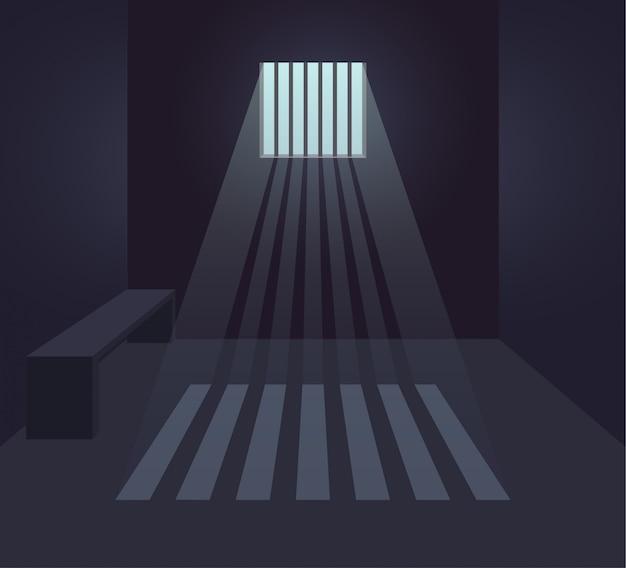 Donkere gevangeniscel interieur. gevangenis kamer. klein raam met zonnestralen. vlakke afbeelding.