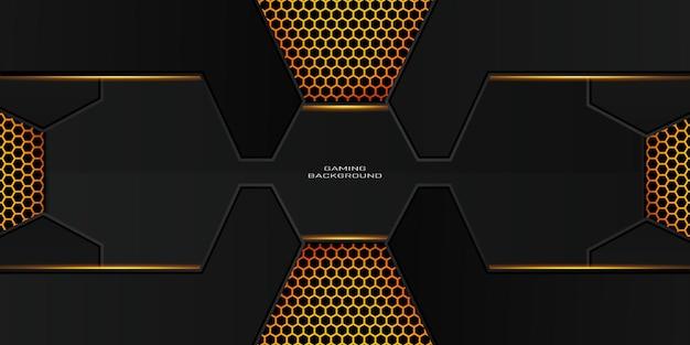 Donkere gouden gamingachtergrond met zeshoekig patroon