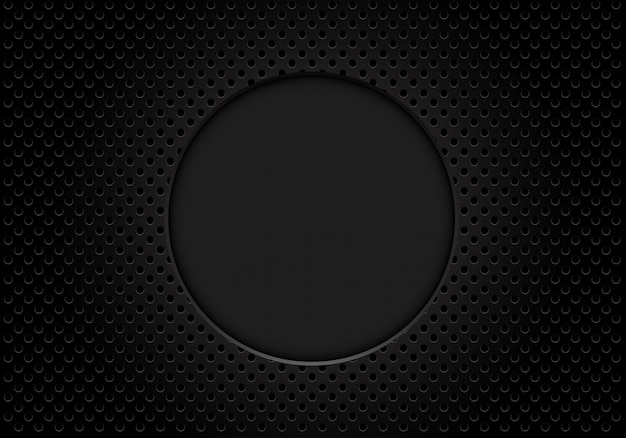 Donkere grijze cirkel lege ruimte op metalen gaas achtergrond.