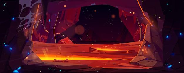 Donkere grot in berg met hete lava cartoon vectorillustratie van ondergrondse vulkaantunnel in roc...