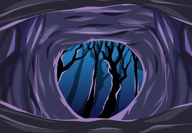 Donkere grot met een donkere scène van de boombeeldverhaalstijl
