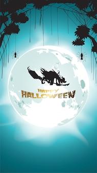 Donkere halloween-heks die met maan vliegt
