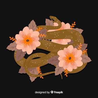 Donkere hand getrokken slangenachtergrond
