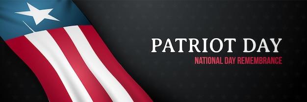 Donkere horizontale banner voor patriot day