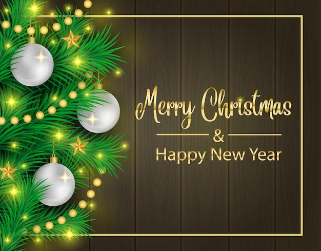 Donkere houten achtergrond van kerstmis en realistische dennentakken