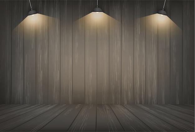 Donkere houten ruimte achtergrond en gloeilamp.
