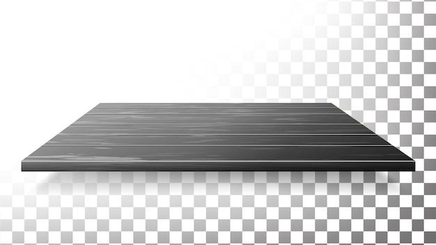 Donkere houten tafelblad, vloer, wandplank