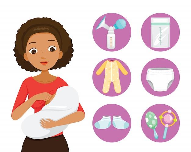 Donkere huid moeder borstvoeding en knuffelen baby. baby pictogrammen instellen