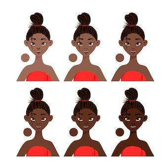 Donkere huidtintgradatie naar het voorbeeld van zwarte vrouwelijke personages