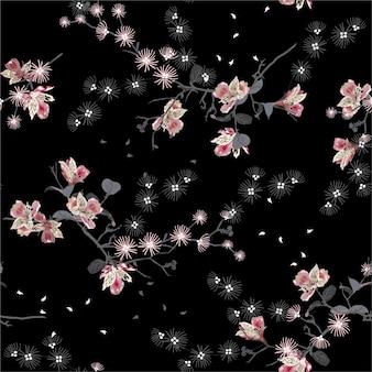 Donkere japanse tuin oosterse nacht bloeiende bloemen, takken, bladeren naadloze patroon