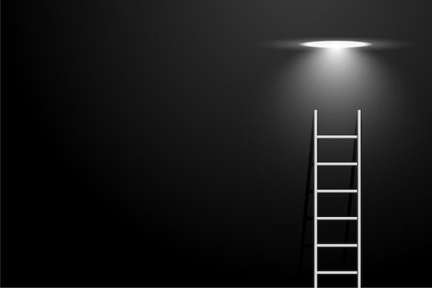 Donkere kamer met ladder en spot gloeilamp concept achtergrond