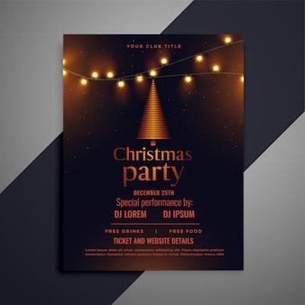 Donkere kerst flyer met gloeiende lichten