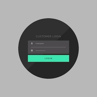 Donkere klant login formulier in eenvoudige stijl