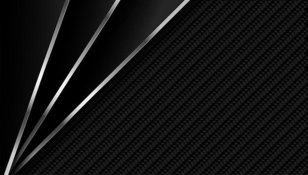 Donkere koolstofvezel met metalen lijnen achtergrond