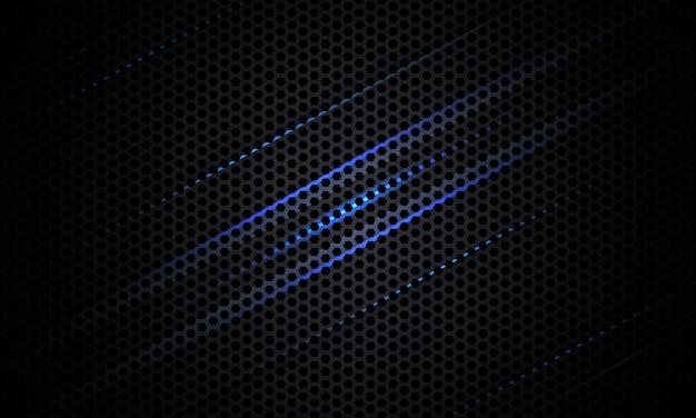 Donkere koolstofvezeltextuur met blauwe en grijze lijnen