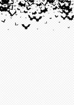 Donkere kudde spooky transparante achtergrond. dracula vliegende achtergrond. schaduwmonsterbanner.