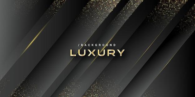 Donkere luxe 3d vorm achtergrond met goud glitter