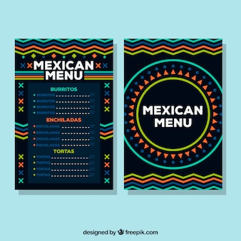 Donkere mexicaanse voedsel menusjabloon