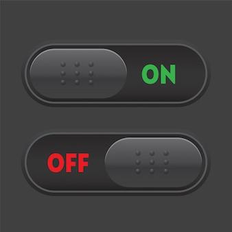 Donkere modus aan uit tuimelschakelaar. web gebruikersinterface-elementen
