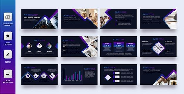 Donkere modus zakelijke presentatiesjabloon ingesteld met verlooplijn