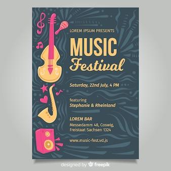 Donkere muziekfestivalaffiche