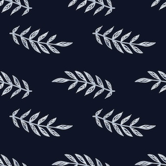 Donkere naadloze patroon met vintage blauwe omtrek blad takken silhouetten.