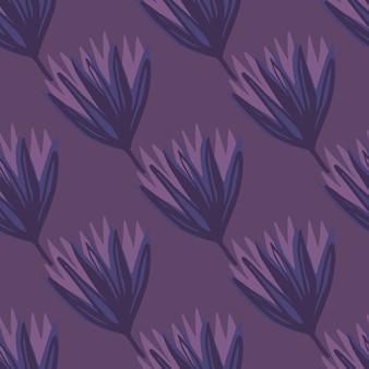 Donkere naadloze tulpenknop patroon. bloem silhouetten en achtergrond in paarse tinten. eenvoudige botanische achtergrond.