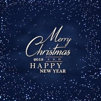 Donkere nacht prettige kerstdagen en gelukkig nieuwjaar 2018 poster achtergrond