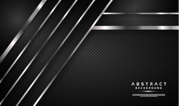 Donkere overlapping zwarte achtergrond met zilveren lijn